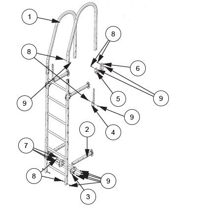 Схема установки.  Расстояние по вертикали между опорными ножками не более 3 метров.  7... 5 - L-образное крепление к...